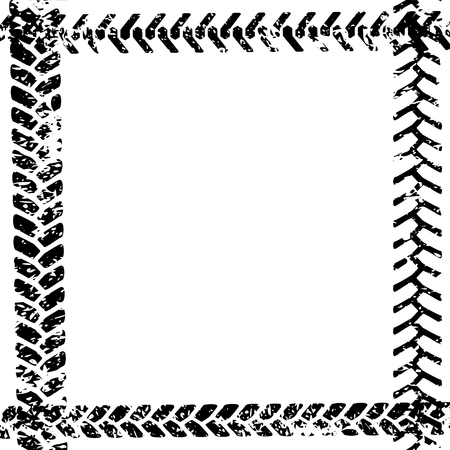 Black and white tire tread protector track on white grunge frame design, vector