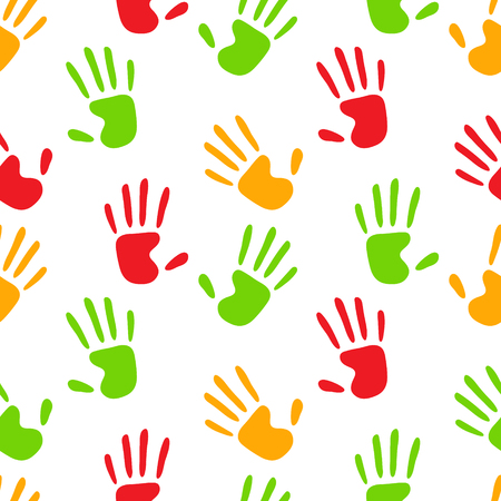 Colorful human hands imprints on white seamless pattern, vector