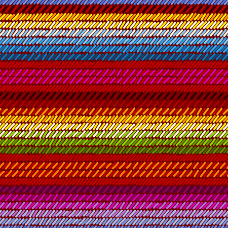 Colorful mexican serape blanket rug woven striped fabric seamless pattern, vector.