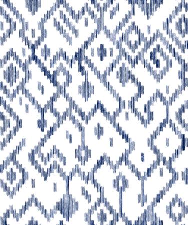Etnisch abstract geometrisch ikat uitgeput patroon in blauw en wit, vector