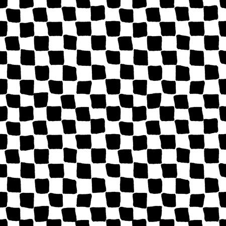 黒と白の大まかな格子模様のシームレスなパターン、ベクトル  イラスト・ベクター素材