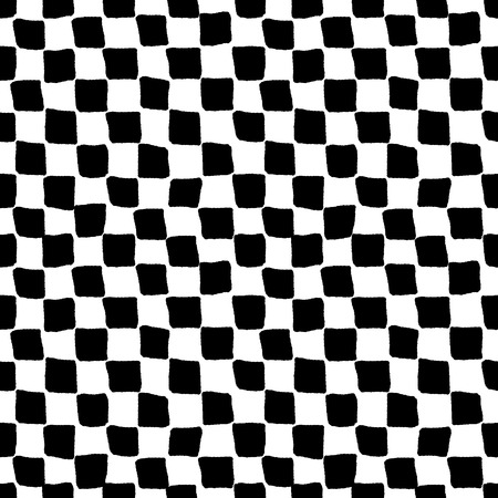 Black and white rough checkered seamless pattern, vector