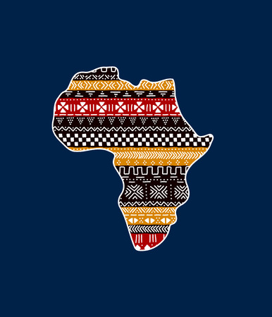 Textured Africa continent on blue traditional mudcloth ornament, vector