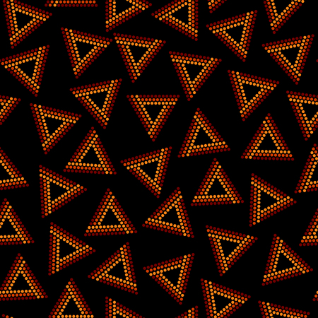 Red and brown dot art chaotic triangles geometric ethnic seamless pattern on black, vector