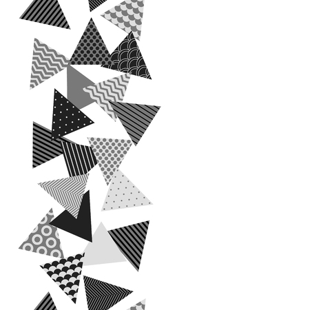 Chaotic patterned triangles geometric seamless border in black and white, vector Illustration
