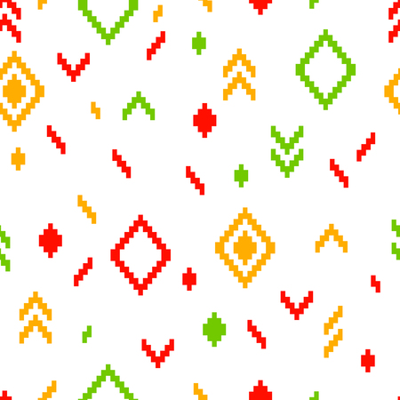 Colorful ethnic abstract geometric pattern on white, vector