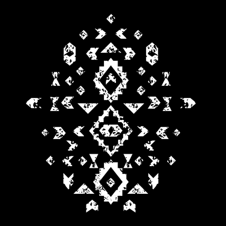 Black and white aged geometric aztec ethnic grunge, vector illustration composition