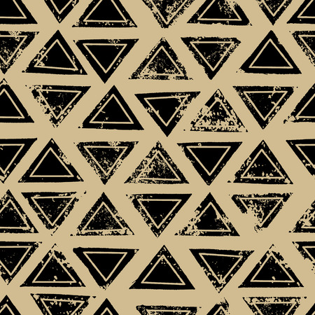 Black and beige triangles aged geometric ethnic grunge seamless pattern.