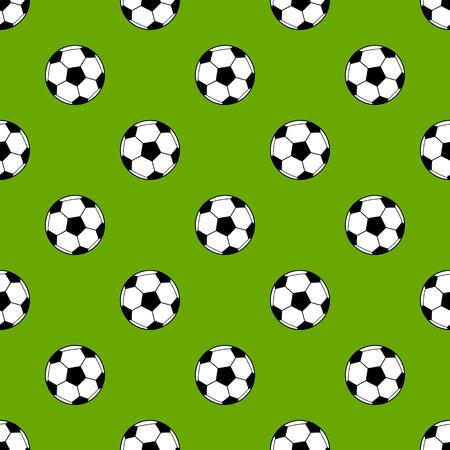 Soccer balls on green stadium grass seamless pattern, vector
