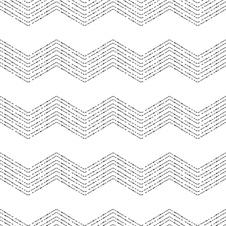 Black and white chevron grunge geometric seamless pattern, vector background
