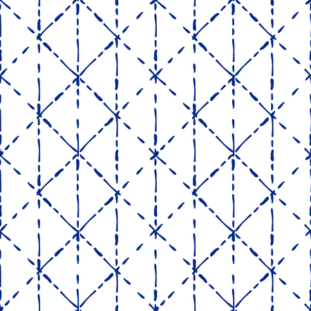 Blue and white traditional fabric tie dye seamless pattern,
