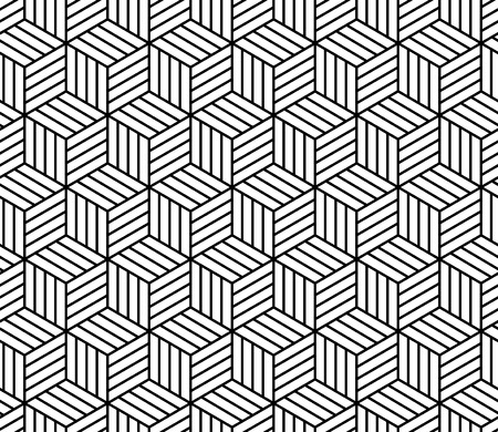 Abstract striped cubes geometric seamless pattern in black and white, vector background