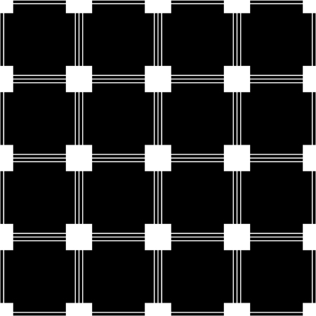 Black and white squares and lines geometric abstract seamless pattern, vector