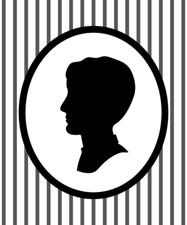 Male head portrait in a frame on the wall profile silhouette, vector Illustration
