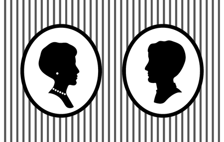 Male and female head portraits in frames on the wall with jewelry profile silhouettes, vector
