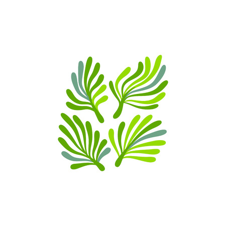 Green and white seaweed plant with leaves floral logo, vector