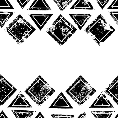 Black and white triangles and squares aged geometric ethnic grunge seamless border, vector