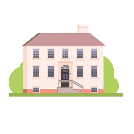Flat style big pink house real estate illustration, vector