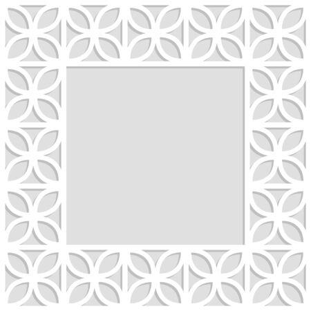Gray and white trefoil leaves laser cut paper lattice geometric square frame, vector illustration. Vetores
