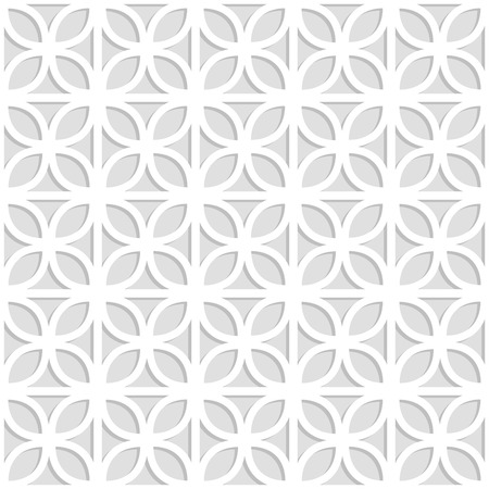 Gray and white laser cut paper trefoil leaves lattice geometric seamless pattern, vector illustration.