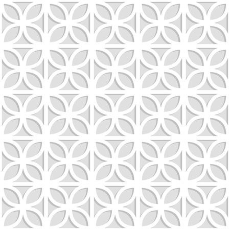 Gray and white laser cut paper trefoil leaves lattice geometric seamless pattern, vector illustration. 写真素材 - 97393219