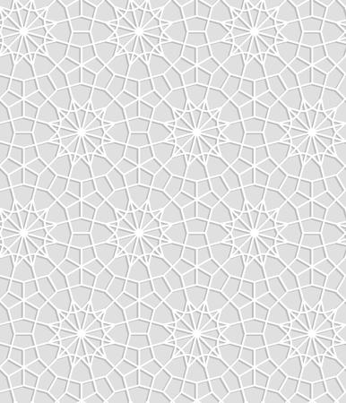 Gray and white geometric crochet lace circle stars seamless pattern, vector