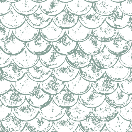 Gray and white grunge scallop geometric seamless pattern, vector