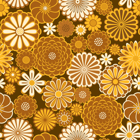 Golden orange circle daisy flowers natural seamless pattern, vector Illustration