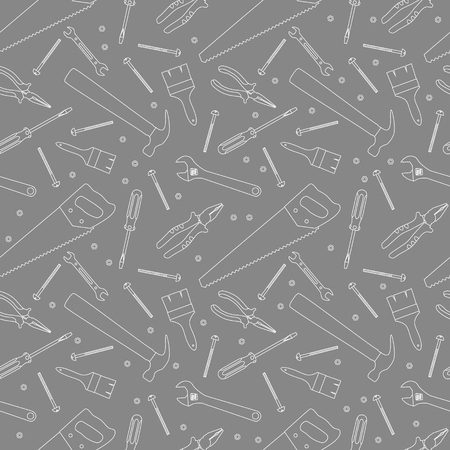Gray and white home repair and house renovation seamless pattern with construction work tools. Hand instrument. vector Illustration