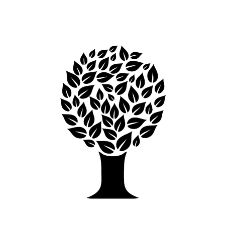 Black and white leaves style in a circular tree design, vector illustration