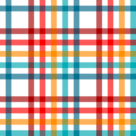Colorful tartan plaid fabric on white seamless pattern, vector
