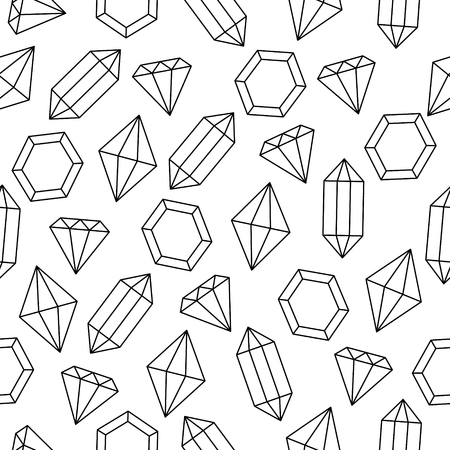 Simple black and white wire framed diamond crystals seamless pattern background Illustration