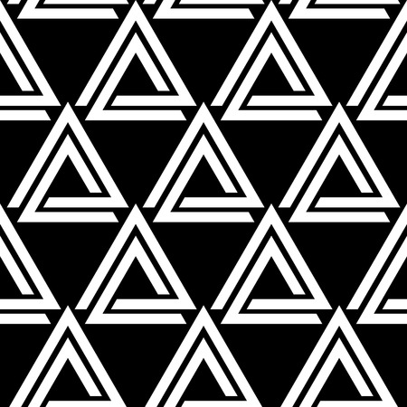 Linked triangles black and white geometric abstract seamless pattern, vector. Vettoriali