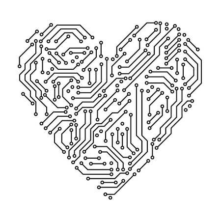 Printed circuit board black and white heart shape computer technology, vector