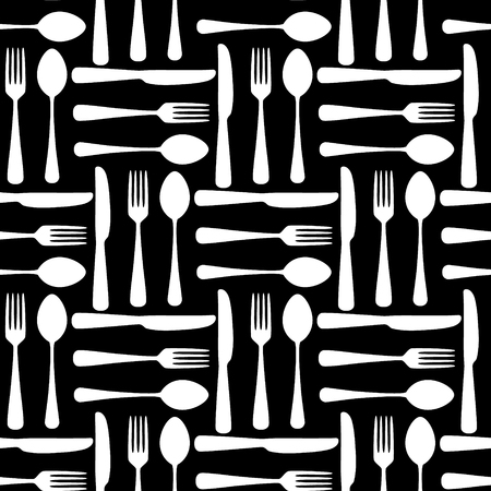 Black and white fork spoon and knide seamless pattern, vector