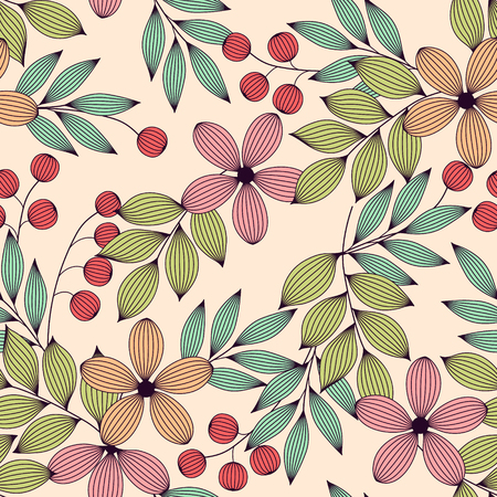 Pastel colored elegant leaves and flowers and berries seamless pattern, vector