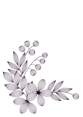 Black and white elegant leaves and flowers with veins floral card template, vector