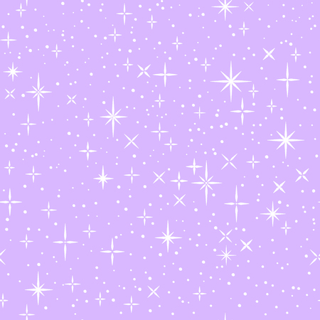 White shiny stars on lilac, childish cartoon seamless pattern, vector