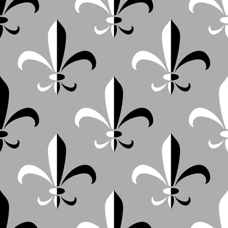 Black and white abstract royal lily ornament seamless pattern, vector