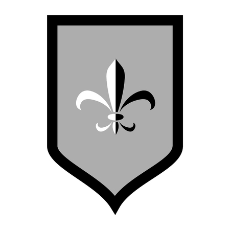 Black and white royal lily ornament on a flag, vector