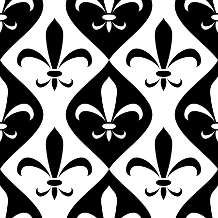Black and white abstract royal lily ornament seamless pattern, vector Imagens - 102022897