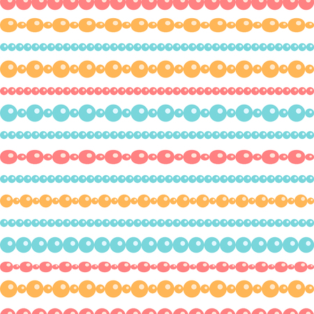 Pastel colored beads necklace on white, seamless pattern, vector