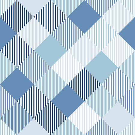 Blue and white abstract simple checker striped geometric seamless pattern, vector