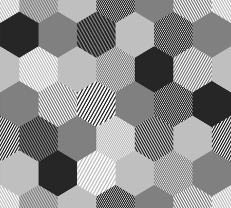Black and white abstract simple striped hexagons geometric seamless pattern, vector Ilustrace