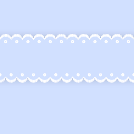 Blue and white scalloped lacy edge embroidery ribbon, seamless border, vector
