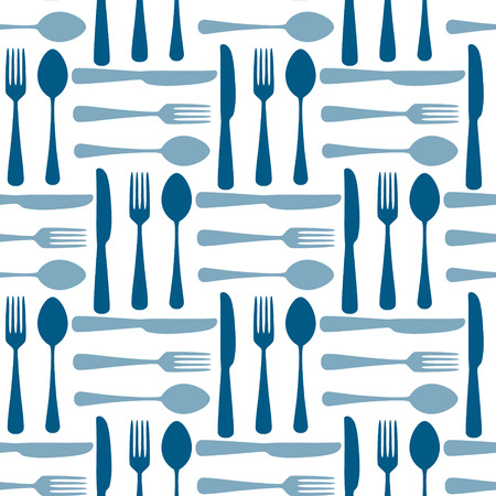 Blue and white fork spoon and knide seamless pattern, vector background