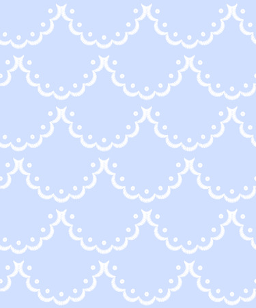 Blue and white scalloped lacy edge embroidery, seamless pattern, vector background