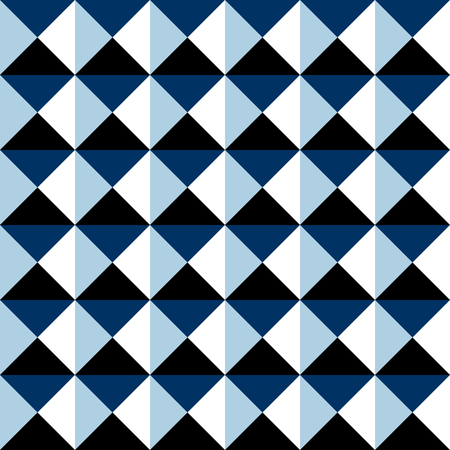Black blue and white abstract simple shapes geometric seamless pattern, vector background