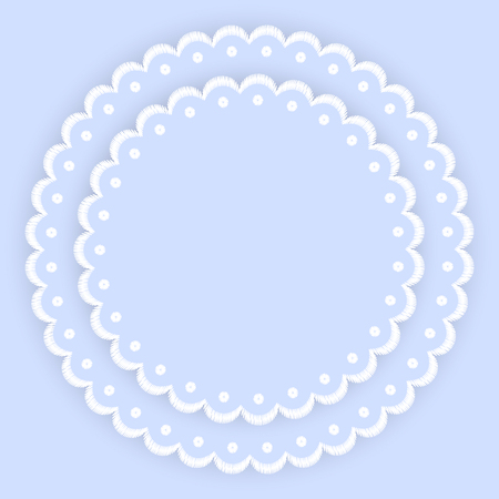 Blue And White Scalloped Lacy Edge Embroidery Circle Doilies Card Template Vector Illustration Stock