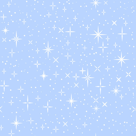 White shiny stars on blue, childish cartoon seamless pattern, vector background